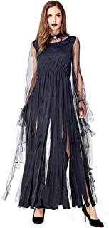 WomenHalloween Gothic Long Dress Evil Sorceress Costume Fringed Maxi Dresses,Black,One Size