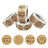 Pegatina Redonda,2000 Piezas Pegatinas Etiqueta Adhesiva Pegatina Kraft,Pegatinas de Handmade with Love Etiquetas de Adhesivas,Redondas Kraft Etiquetas Personalizadas
