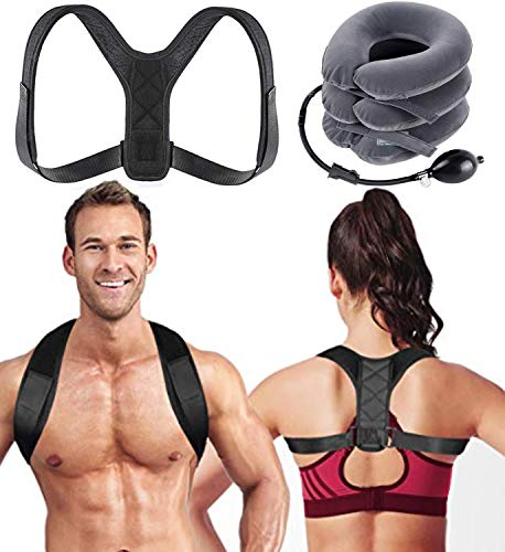 Posture Corrector for Men & Women + 1 Neck Traction Device (Bonus) Inflatable Cervical Device- Adjustable Upper Back Brace- Neck Stretcher for Clavicle Support- Providing Shoulder & Back Pain Relief.