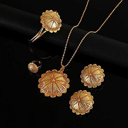 Collares pendientes de moda, pendientes, brazaletes de anillo para mujer, Eritrea, flor africana, conjuntos de joyas etíopes, color dorado