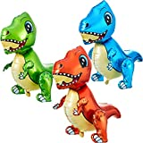 3 Pieces Self Standing Dinosaur Balloons 3D Dinosaur Balloons Inflatable Cartoon 3D Stand Dinosaur Foil Balloon Dinosaur Party Supplies for Dinosaur Jungle Themed Birthday Decorations