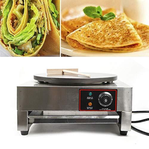 Jasemy Crepes Piastra Crepe Maker Wrapmaker Padella per pancake Omelette Wrap Termostato continuo | incl. mestolo per impasto | Spatola in legno e paletta | Protezione da surriscaldamento 2,8 KW 40 cm