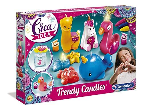 Clementoni 18563 Crea Idea – Trendige Tierkerzen, Kerzen zum Gießen & Dekorieren, farbenfrohes Bastelset mit Tierformen, Kreativspielzeug für Kinder ab 8 Jahren