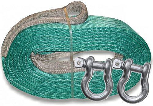 Purchase BILLET4X4 U.S. Made MEGA Recovery Strap 6 inch X 30 ft Two-PLY with MEGA D-Shackles (Off-Ro...