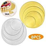 WisFox Cake Board Rund Kuchenplatte Tortenunterlage Tortenplatte für Kuchen und Torten 8er Set, 3mm...