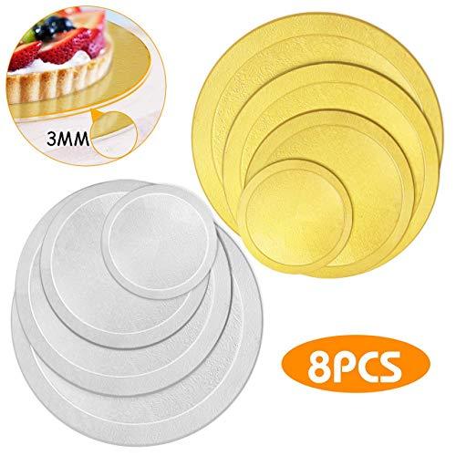 WisFox Cake Board Rund Kuchenplatte Tortenunterlage Tortenplatte für Kuchen und Torten 8er Set, 3mm Dick, 6 8 10 12 Inch-Gold/Silber