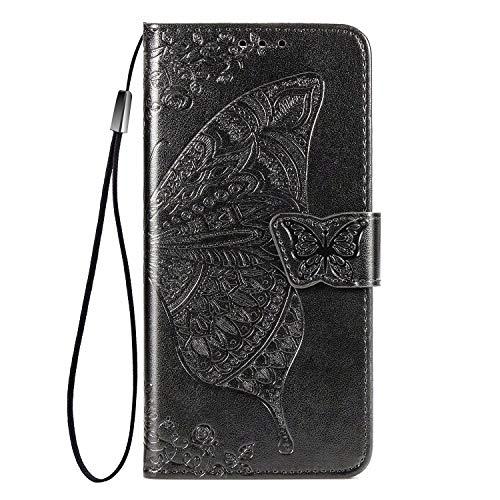 Wuzixi Funda para Meizu 18 Pro. Ranuras para Tarjetas, PU Cuero Flip Folio Carcasa, con Soporte Plegable Apto para Meizu 18 Pro Smartphone.Negro