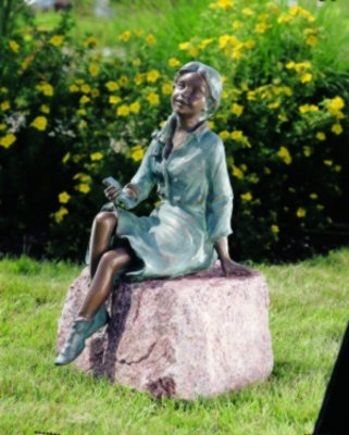 Bronzefigur Skulptur Echte Handarbeit Gartenskulptur Gartenfigur Garten-Statue