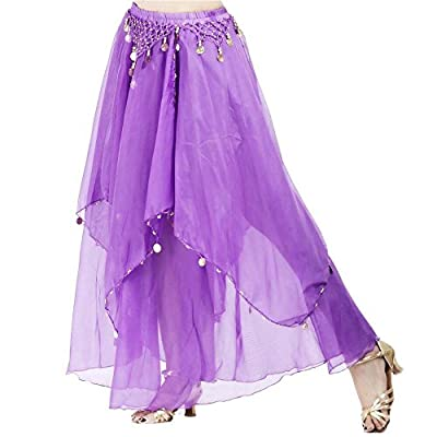 Danzcue Womens Fashionable Chiffon Hanging Coin Belly Dance Skirt