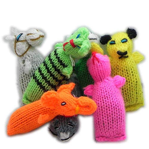 Barn Yarn Hand Knit Wool Cat Toy with Catnip 6 Pack