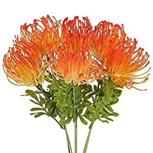 NAHUAA 6PCS Artificial Flowers UV Resistant Fake Plastic Protea Cynaroides Floral Bouquets Table Centerpieces Arrangements Home Kitchen Office Indoor Outdoor Decorations