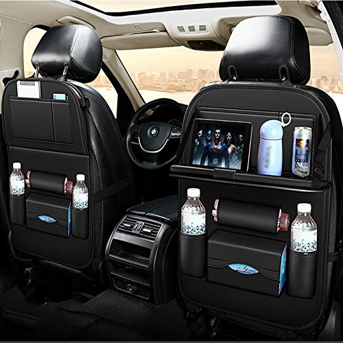 HIMAPETTR Car Organisers, Waterproof Kick Mats Organiser, Durable Foldable Cargo Net Storage for Car Backseat Cover, Car Seatback Protector with 10inch Tablet Holder,Black
