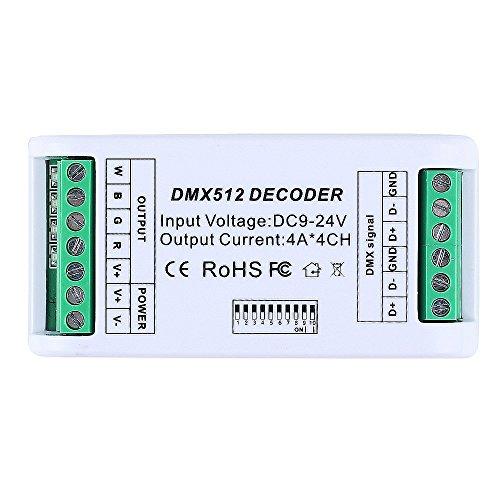CHINLY 4 Kanal DMX Decoder RGB RGB 12A LED Streifen Controller DMX 512 Dimmer Treiber DC9V-24V für RGB RGBW LED Streifen Modul