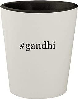 #gandhi - White Outer & Black Inner Hashtag Ceramic 1.5oz Shot Glass
