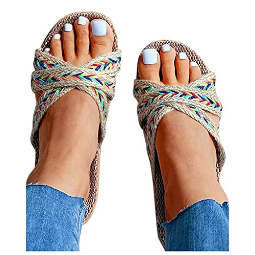 For Sale! kaifongfu Women Men Beach Slippers Home Slides Summer Cross Strap Casual Linen Slippers(Be...