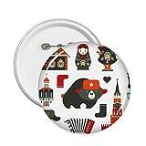 DIYthinker Botón del oso de vodka acordeón muñeca Rusia País Cultura pernos redondos Placa Ropa Decoración 5Pcs regalo XXL Multicolor