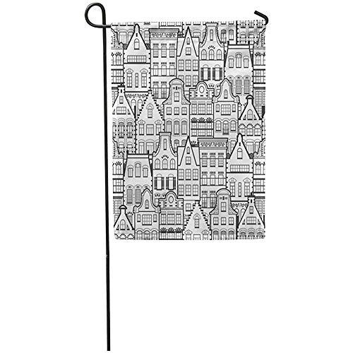 Tuinvlaggen Huis Yard Vlag Holland Oude Huizen Gevels Traditionele Architectuur Nederland Lijn Zwarte Home Yard Huis Decor Barnner Outdoor Stand 32X45.7CM Vlag