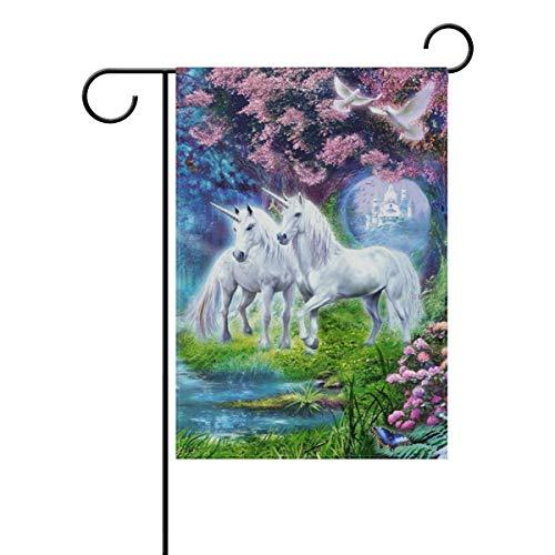 Bennigiry Cornes Cheval Blanc Fantasy Art Blooming Arbres décoratifs Pigeon River Bridge de Fleurs Double Face Jardin Drapeau Bienvenue Drapeau 30,5 x 45,7 cm