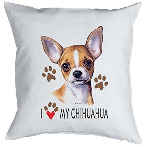 Hond knuffelkussen voor honden of hondenbezitters kussen met vulling I love my Chihuahua cool sierkussen ook voor de auto