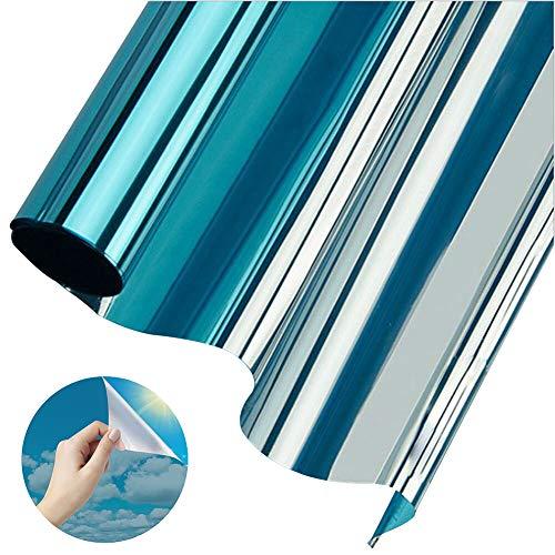 Aoweika Fensterfolie Sonnenschutz Hitzeschutz Spiegelfolie Selbsthaftend Blickdicht UV-Schutz Sichtschutz Für Zuhause Badzimmer oder Büro Blau Silber 40 x 200 cm