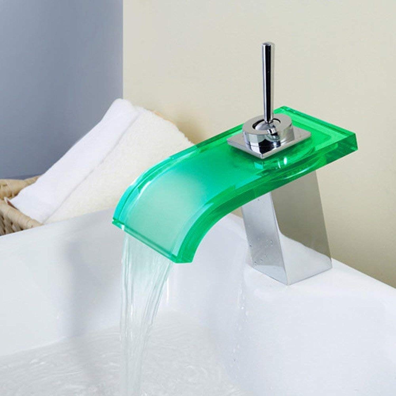 YHEGV Wasserhahn LED Wasserfall glühender Wasserhahn Glas Wasserfall Wasserhahn