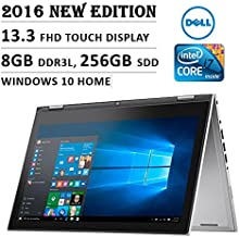 Dell Inspiron 7000 13.3-Inch Touchscreen Laptop (Intel Core i7, 8GB, 256GB SSD, No DVD, Backlit Keyboard, Stylus, Bluetooth, Windows 10) - Silver