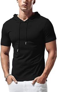 Sponsored Ad - KUYIGO Mens Hoodies Fashion Athletic Short Sleeve Sport Sweatshirt Slim Fit Pullover Shirt