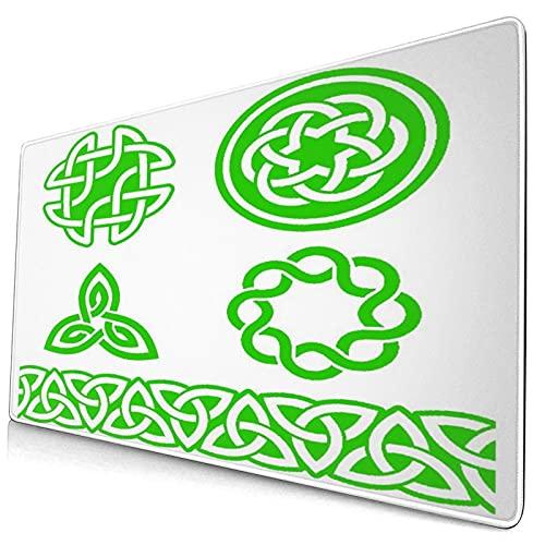 PATINISA Alfombrilla de Ratón,Patrones y Nudos celtas irlandeses Verdes - Vector St Patrick 's Day,Base de Goma Antideslizante Alfombrilla para PC y Portátil 750 x 400 mm