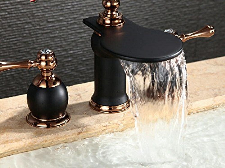 SHLONG Waschbecken Wasserhahn hochwertige Kupfer Farbe Wasserfall Wasserhahn Doppel Bad Kabinett Becken drei Lcher schwarz Wasserhahn