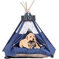 Arkmiido Tienda para Mascotas con Cama, Casa de Lona para Perros y Gatos, Tipi para Mascotas con cojín de, Bajo Techo, en exteriors.