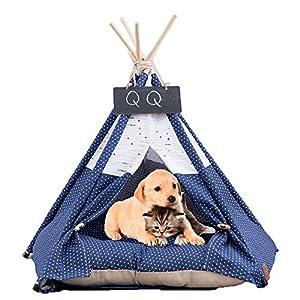 Arkmiido Tienda para Mascotas con Cama, Casa de Lona para Perros y Gatos, Tipi para Mascotas con cojín de, Bajo Techo, en exteriors. 6