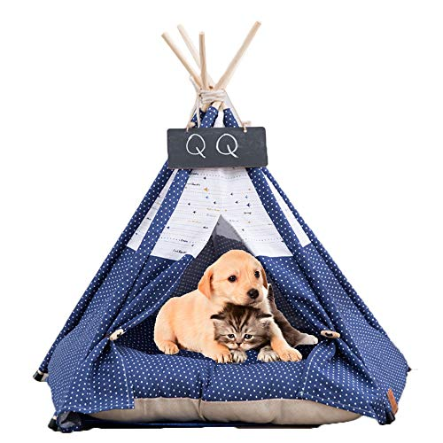 Arkmiido Pet Tent with Cushion & Chalkboard, Tipi House for Dog and Cat, Pet Bed (blue)