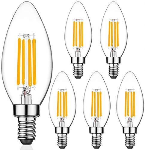 E14 LED Lampe Kerze Glühbirne, massway 6er Pack Glühfaden Retrofit Classic, Warmweiß 2700K Energiesparlampe, 4W ersetzt 40 Watt, Filament Fadenlampe, Glas, nicht dimmbar [Energieklasse A+]