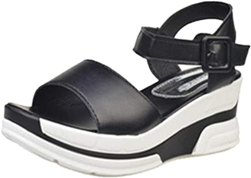 HhGold Damen Sommer Schuhe Peep-Toe Keilabsatz Sandalen (Farbe   Schwarz Größe   40 EU)