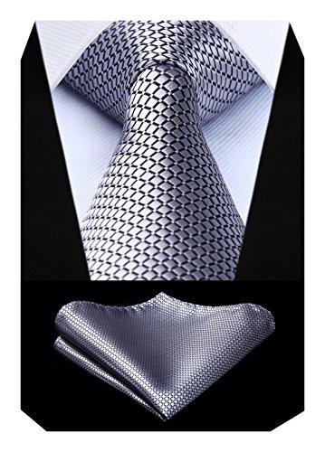 BIYINI Herren Uberprufen Sie Krawatte Hochzeitsfeier Taschentuch Krawatte & Einstecktuch Set