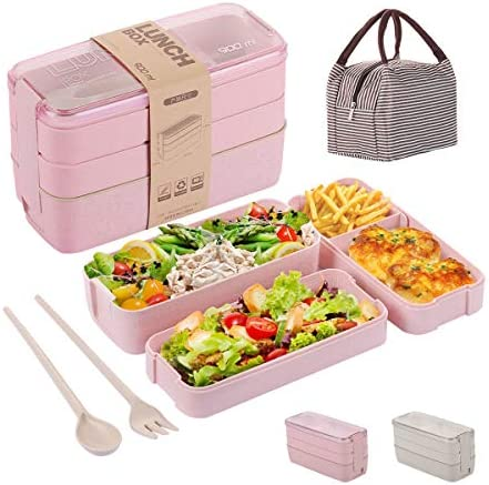 Bento Lunch Box for Adults Kids with 3 Containers Lunch Box Meal Prep container 3 In 1 Compartment product image