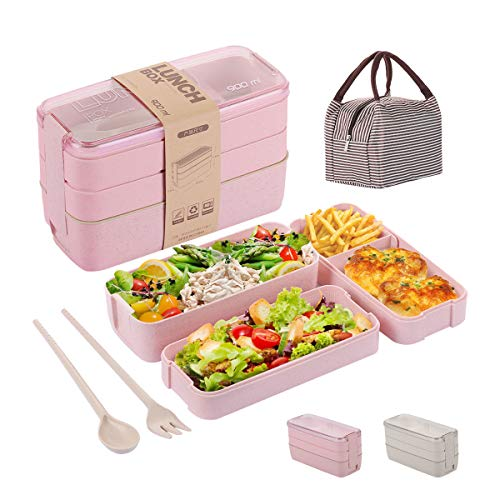 Bento Box for Adults Kids 3-In-1 Meal Prep Container 900ML Janpanese Lunch Box with Compartment Wheat Straw Leak-proof Spoon Fork Lunch Bag BPA-free Pink
