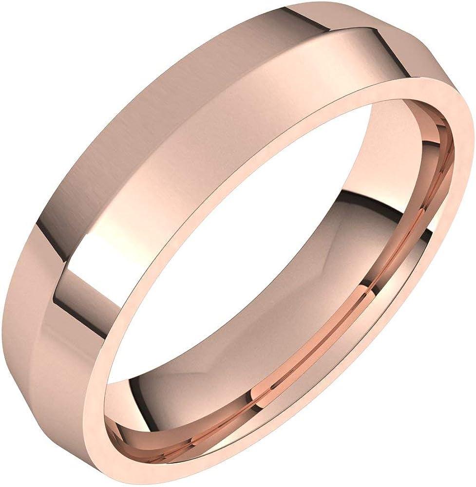 14k Rose Gold 5mm Knife Edge Bridal Wedding Comfort Rin trend rank Band Fit Time sale