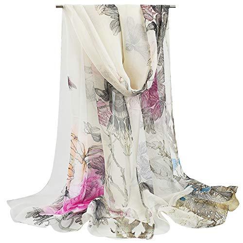 heekpek Wrap Scarf Shawl Stole Head Band Floral Print Lightweight Silk Feeling (White, One size)