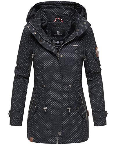 Marikoo Damen Jacke Frühling Übergangsjacke leicht Parka Mantel Kapuze B690 [B690-Nyok-Navy-WP-Gr.L]