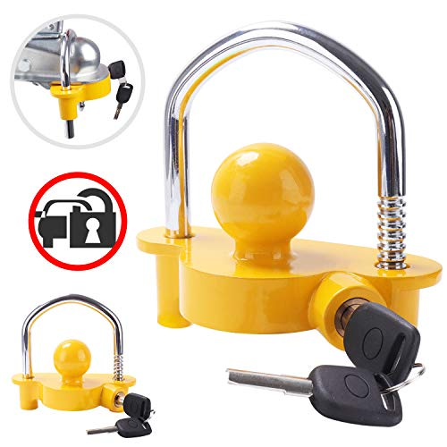 Tevlaphee Universal Trailer Ball Tow Hitch Lock Adjustable,Heavy-Duty Steel,Fit for Towing Caravan Trailer Security with 2 Keys Yellow