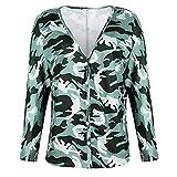 N\P Cardigan de manga larga con cuello en v estampado camiseta de mujer