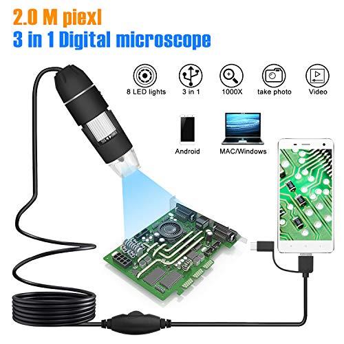 USB mikroskop WADEO Digital Mikroskop mit Kamera Vergrößerung Endoskop Mini Kamera Metallständer für Ipad Mac Ios Windows 40X to 1000X