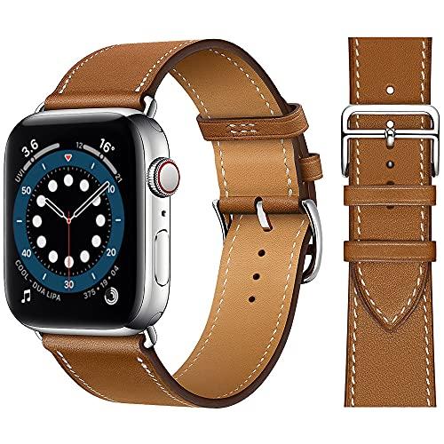Danwon Pulseira de couro, compatível com pulseiras Apple Watch de 38 mm e 40 mm, muitas cores de couro fino de alta qualidade para iWatch SE Series 6/5/4/3/2/1 (42 mm/44 mm, marrom)