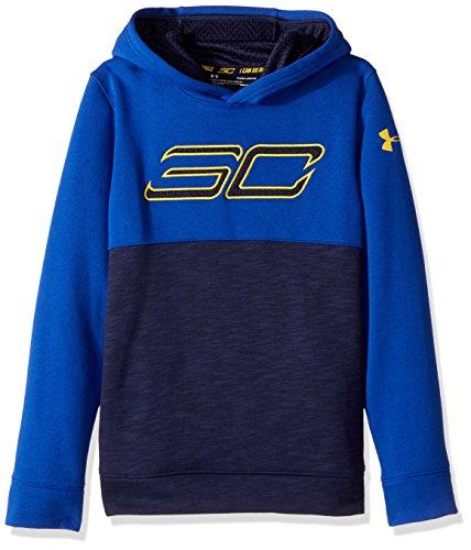 Under Armour Boys' SC30 Fleece Logo Hoodie,Midnight Navy /Taxi, Youth X-Small