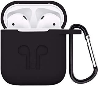 AirPods Case Protective Silicone Cover with Carabiner for Apple Airpods Accessories Black