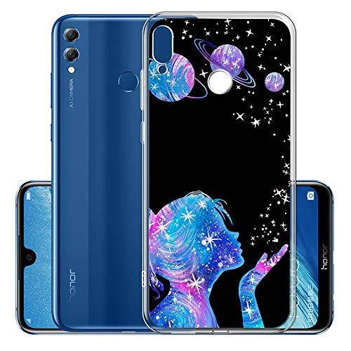 Everainy Coque Compatible pour Huawei P Smart Z 2019 Silicone Housse Étui Transparente Souple Bumper Ultra Mince Fine TPU Gel Antichoc Case Drôle Motif Cover (Fille)