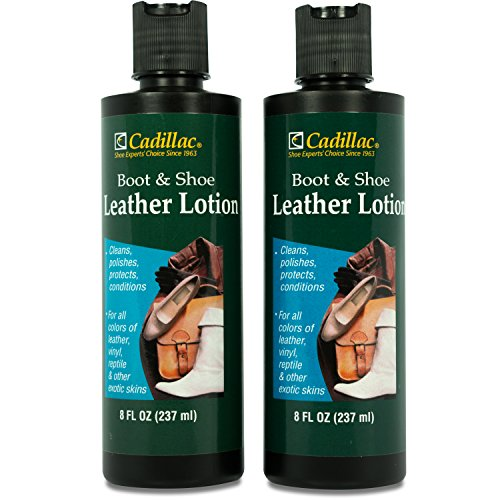 Cadillac Boot and Shoe Leather Lotion 8 Fl Oz (2-pack) - Conditions, Cleans, Restores, Protects and Polishes all Colors of Leather - Works on Footwear, Furniture, Handbags, Jackets, Wallets and More