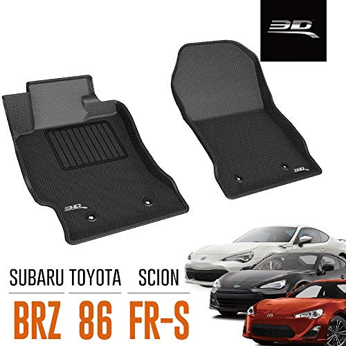 3D MAXpider All-Weather Floor Mats for Toyota 86 2017-2020 / Subaru BRZ 2013-2020 / Scion FR-S 2013-2016 Custom Fit Car Floor Liners, Kagu Series (1st Row, Black)