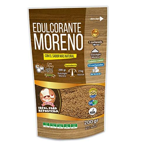 EDULCORANTE MORENO DULCILIGHT |Envase de 200gr |Natural Granulado de caña con Fibra Vegetal |200gr = 2kg de azúcar| Formato Ahorro para Reposteria Premium